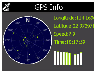 GPS Audioguide for tour trains and buses – Screen indicating GPS satellites received by audioguide device